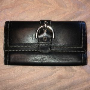 Coach Soho TriFold Leather Buckle Wallet black